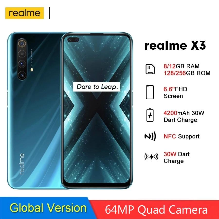 Realme X3 RMX2086 SuperZoom Global Version 8GB 128GB Mobile Phone 64MP Quad Camera 4200mAh 30W Dart Charge 4G Mobile phone