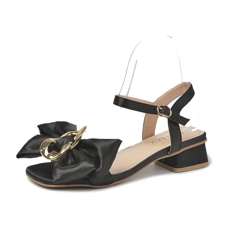 Fivela de Salto Mulher Sapatos Sandálias Tornozelo Cinta Med Saltos Grosso Doces Cristal Arco Senhoras Calçados Verão Rosa Tamanho