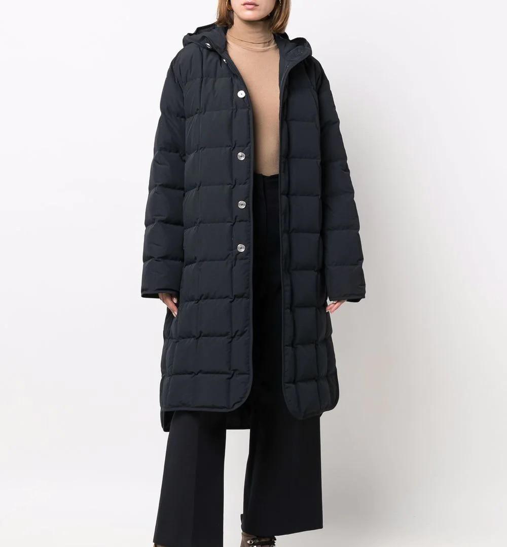 عالية الجودة المرأة موضة الدفء مقنعين مريحة طويلة الأكمام منتصف طول أسفل معطف مصمم الملابس