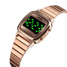 ساعة نسائية SKMEI ساعة رقمية تاريخ مصباح ليد عرض ساعة إلكترونية موضة فستان نسائي ساعة يد أسورة ضد الماء ساعات نسائية    -