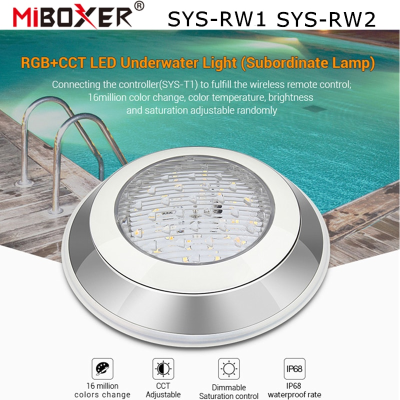 Miboxer 12W 27W RGB+CCT LED Underwater Light Swimming Pool Lamp SYS-RW1 SYS-RW2 IP68 Waterproof DMX512/WiFi APP Alexa Control