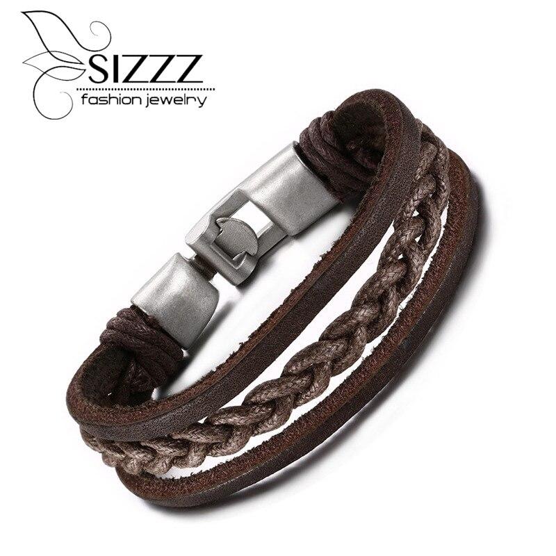 Venta al por mayor pulsera de cuero auténtico marrón para hombre, pulsera de cuero auténtico, pulseras y brazaletes para mujer
