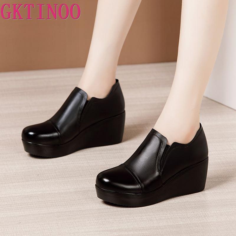 GKTINOO-حذاء نسائي بكعب عالٍ ، حذاء منصة إسفين مقاوم للماء ومسامي ، غير رسمي ، جلد ، 2021