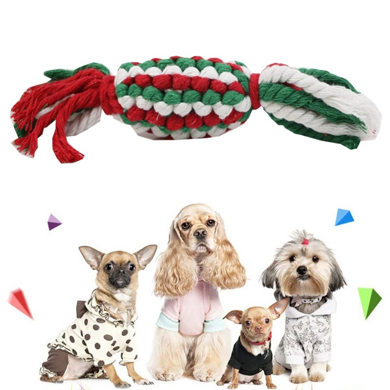 10 Pcs Christmas Candy Cotton Rope Dog Molar Toys Cute Carton Doll Soft Durable