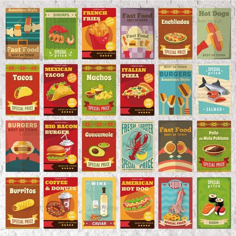 Placa carteles de Metal Vintage Poster Snack comida rápida Metal Sign Arte de la pared Decoración para restaurante comida rápida Pub Club Iron Painting