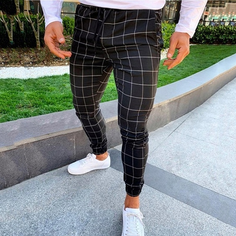 2021 Sexy High Wasit Spring Summer Fashion Pocket Men's Slim Fit Plaid Straight Leg Trousers Casual Pencil Jogger Casual Pants