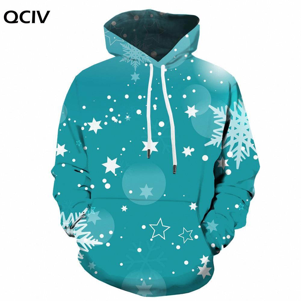 QCIV Brank рождественские свитшоты, мужские снежинки с капюшоном, повседневные женские свитшоты с принтом, уличная одежда с длинным рукавом