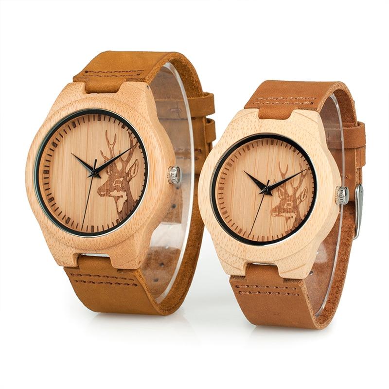BOBO BIRD Wood мужские и женские мужские часы Bamboo amante de relojes кварцевые парные часы Elk Роскошные наручные часы Reloj Hombre оптовая продажа