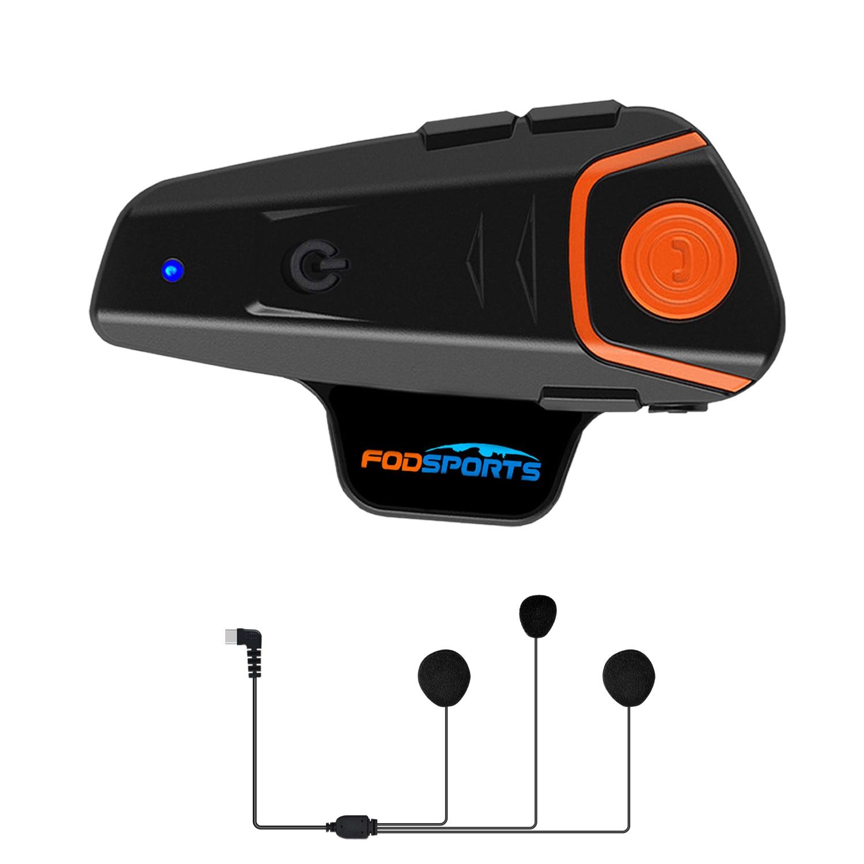 Fodsports BT-S2 Pro домофон мотоциклетный шлем гарнитура Водонепроницаемая беспроводная Bluetooth BT Переговорная FM Радио стерео музыка