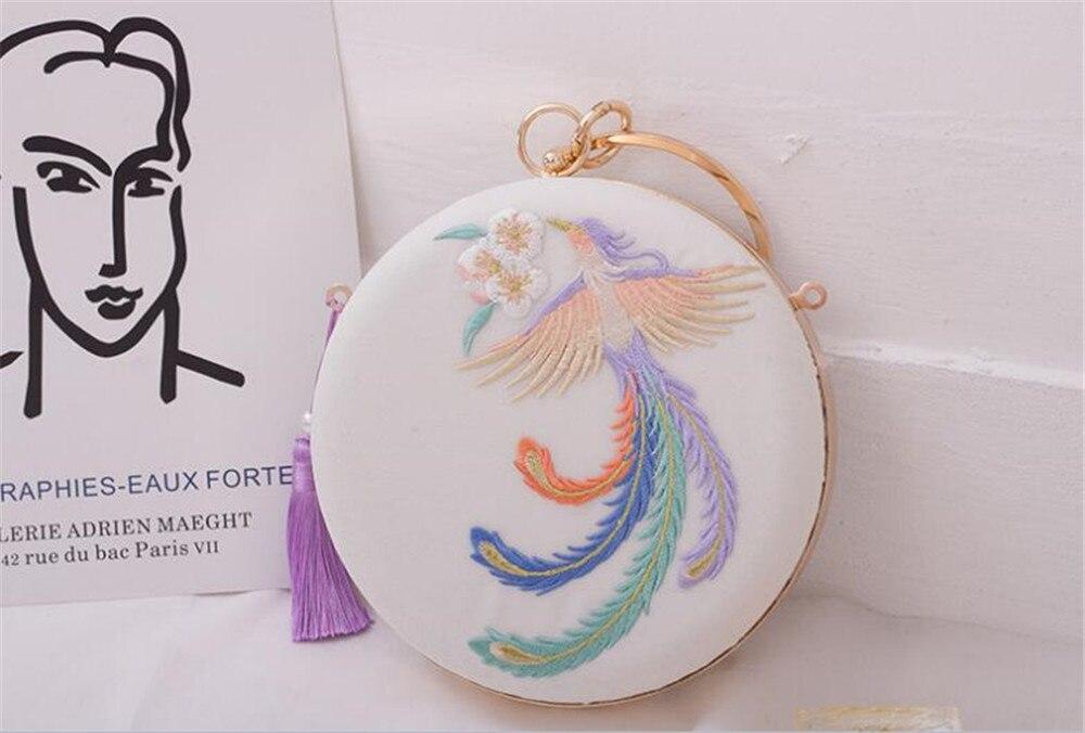 Lolita chica Cadena de perlas Circular Cheongsam de Phoenix bordado Floral caja bolso de la muñeca, bolsa embragues día B1170