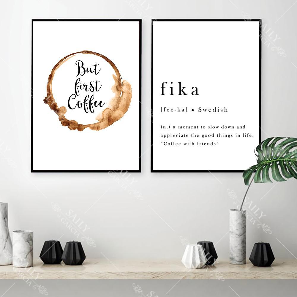 Póster inspirador de Fika, citas suecas, cuadro sobre lienzo para pared, pósteres modernos e impresiones, imágenes escandinavas, decoración para dormitorio