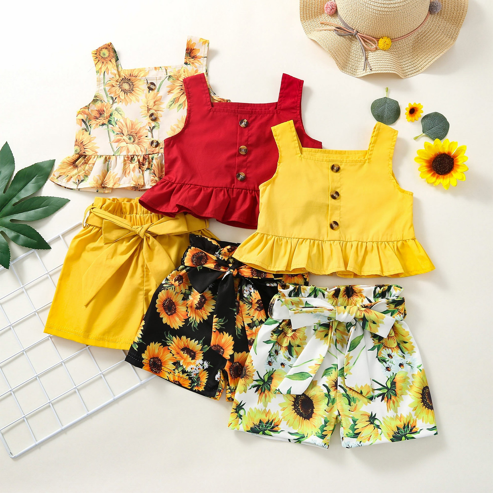 2 Pieces Kids Baby Girls Clothes Summer Set Sunflower Print Square Neck Sleeveless Ruffle Tops+ Solid Color Shorts for 1-4 Years summer baby kids girls clothes 3d flower print sleeveless ruffle round neck pullover t shirts denim hole pants 2pc cotton set