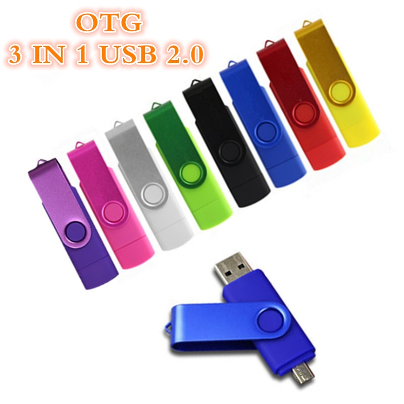 360° Rotation Pen Drive Metal OTG 3 In 1 Type-C Usb Flash USB 2.0 4G 8GB 16GB 32GB PenDrive 64GB 128GB 256GB Free Lgo Gift