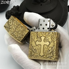 Zorro Kerosene Lighter Pure Copper Five Side Carving  Etching Personality Creativity For Men Gift Co