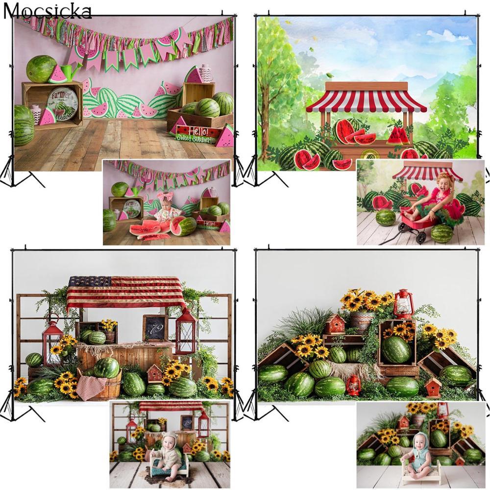 Mocsicka Summer Watermelon Farmer Market Photography Backdrop Children Birthday Portrait Decor Props Background For Photo Studio