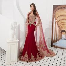 Jiayigong arabie saoudite manches longues robe de soirée Illusion Boday or Applique sirène robes de soirée de bal longues vestidos de festa