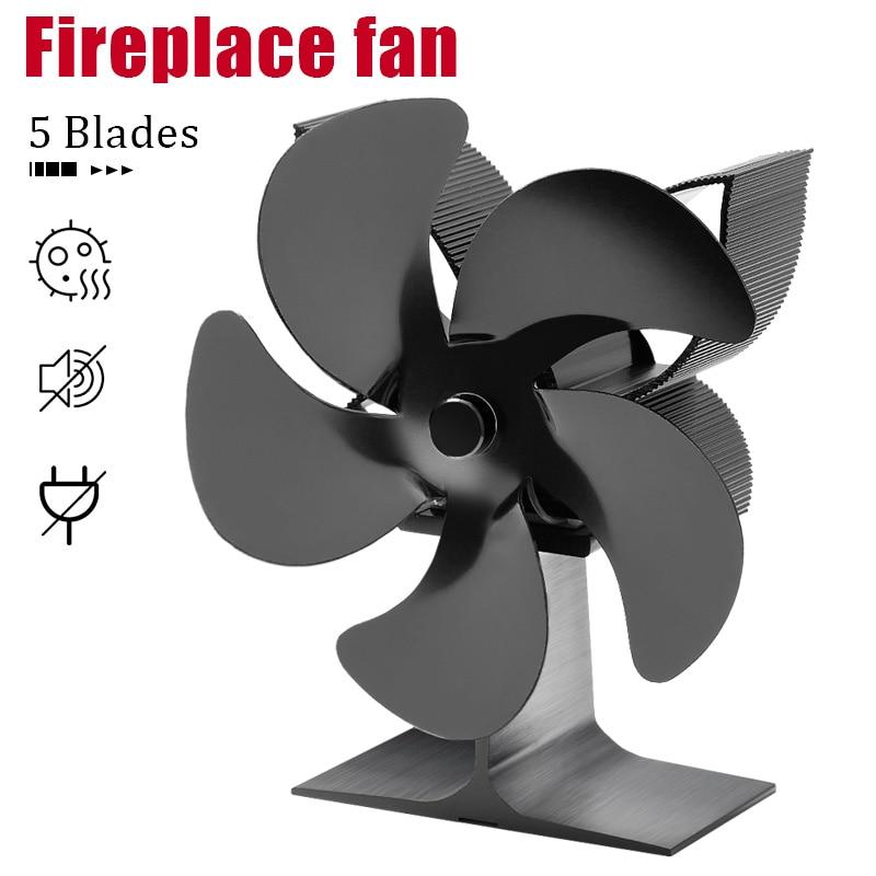 الطاقة الحرارية موقد على شكل مدفأة مروحة ومدفأة 5 شفرات الأسود الموقد التدفئة مروحة آمنة المنزل الموقد مروحة كفاءة توزيع الحرارة