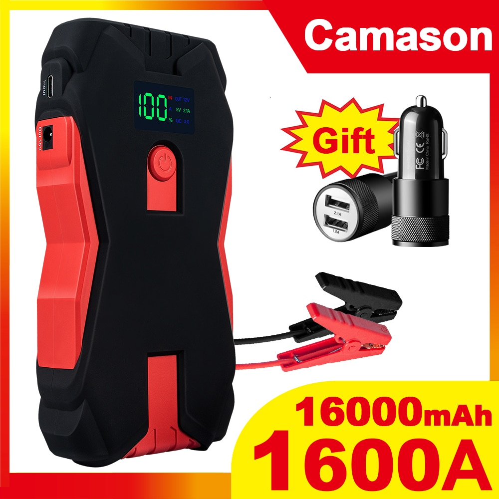 Camason Car Jump Starter Power Bank 1600A Starting Device Battery Car Auto Emergency Booster Charger Jump Start up for car