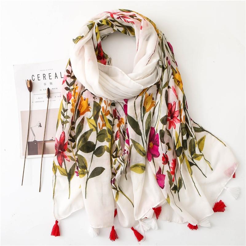 Chal de algodón Sparsil con borlas de primavera para mujer, chal Floral de gasa estilo coreano, chal LARGO DE Pashmina, bufanda suave fina de verano con protección solar