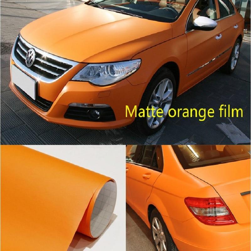 Película mate naranja envoltura de vinilo expulsión de aire sin burbujas pegatina cinta de película emblema accesorios de estilo de coche cubierta