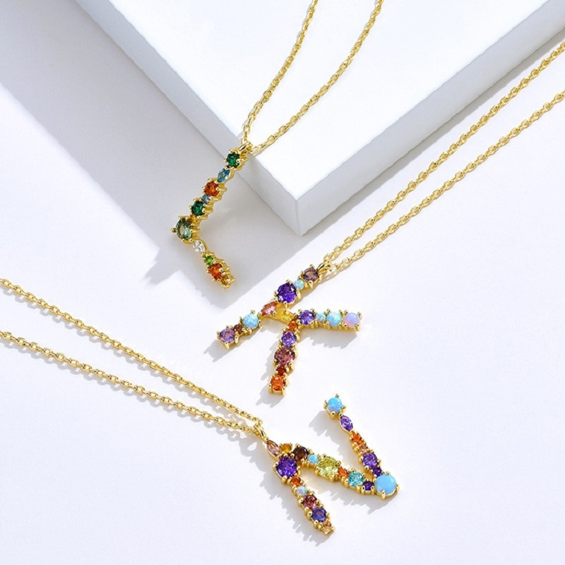 Fashion Colorful 26 Letters Romantic Necklaces Color Cubic Zirconia Anniversary Necklace Customized
