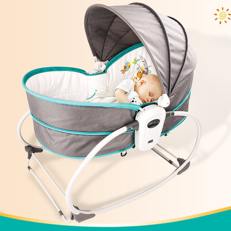 LazyChild Baby Multi-Functional Rocking Chair Sleeping Cradle Bed for Infant 0-3Years Old Swing Crib with Music and Vibration