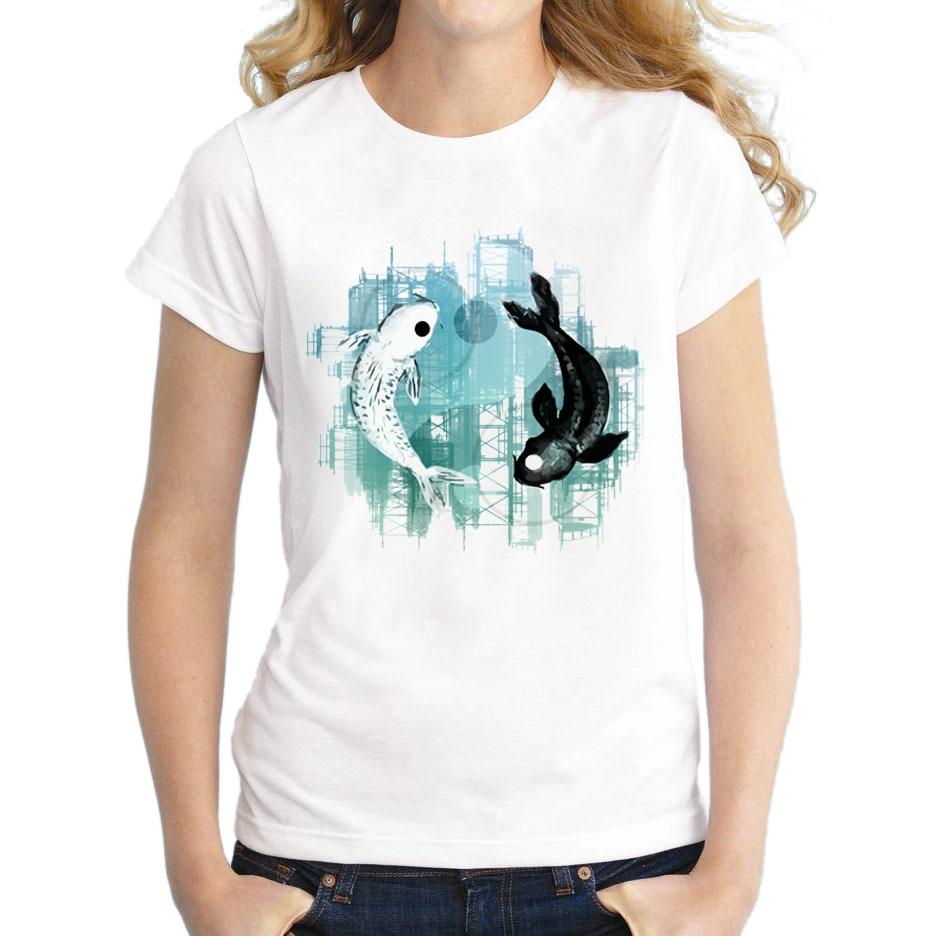2018 camiseta blanca personalizada para mujeres Yin Yang Koi, camiseta Casual con estampado de peces, camiseta de acuarela de manga corta, novedad