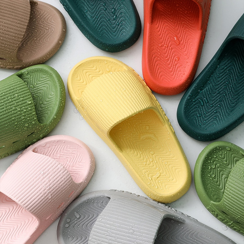 Bathroom Slippers Men Women EVA Indoor Home Couple Shoes Thick Bottom Soft Non Slip Slides Concise Cozy