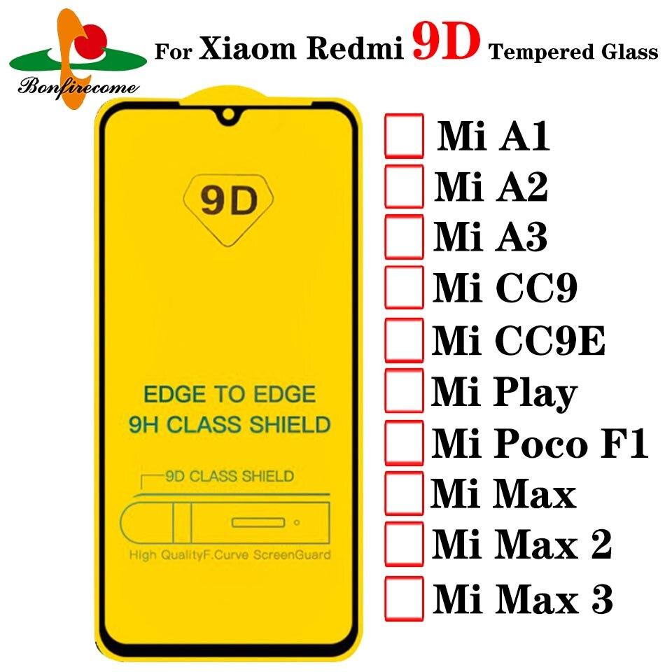 واقي شاشة لـ Xiaomi Mi Max 1 2 3 A1 A2 A3 ، مجموعة من الزجاج المقسى 9D لـ Xiaomi Mi Max 1 2 3 A1 A2 A3 ، فيلم واقي لـ Mi Play CC9 CC9E Poco F1 ، 100 قطعة