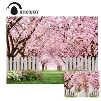 allenjoy spring cherry blossom backdrop photography fence tree photo background props for photography wedding easter wallpapers