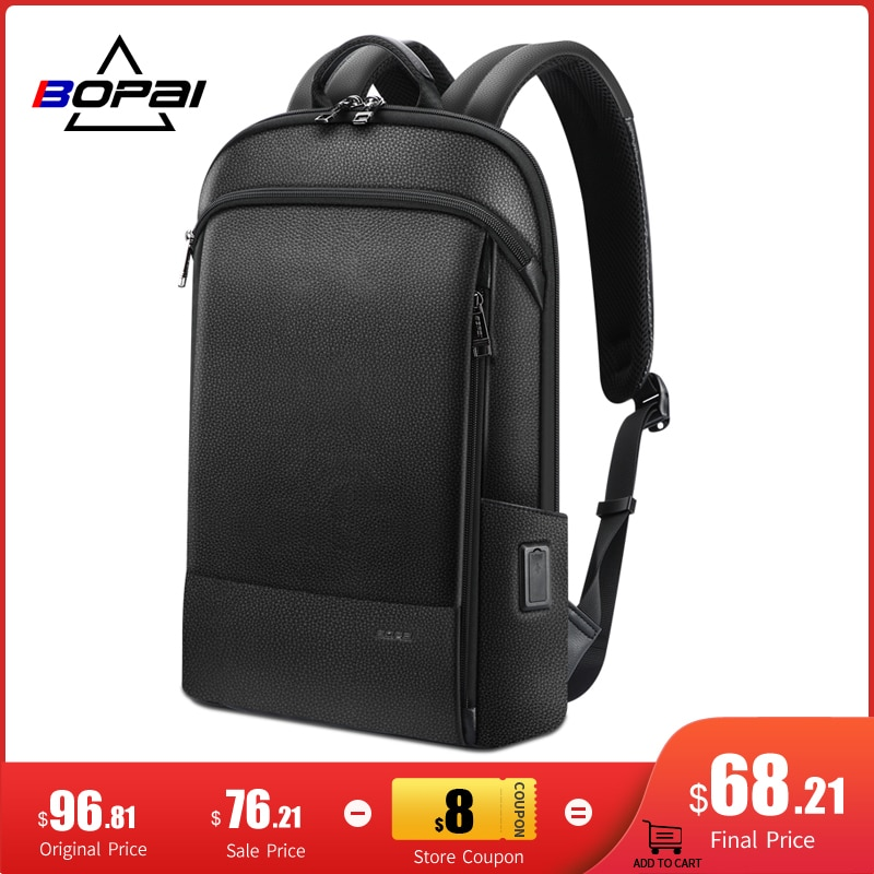 BOPAI Genuine Leather Slim Laptop Backpack Ultra Thin Men 15.6 Inch Anti Theft Backpacks School Unisex Black Ultralight Bagpack