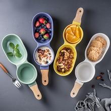 Nordic 2 Grid Divided Bowl Seasoning Snack Porridge Nut Fries Cup Ceramic Fruit Ice Cream Bowl with Handle Restaurant Dinnerware