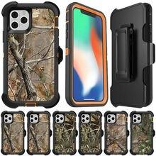 3 en 1 étui de Protection robuste pour iPhone 11 Pro Max X XS XR camouflage forêt darbre réel armure hybride étuis de téléphone couverture + pince de ceinture