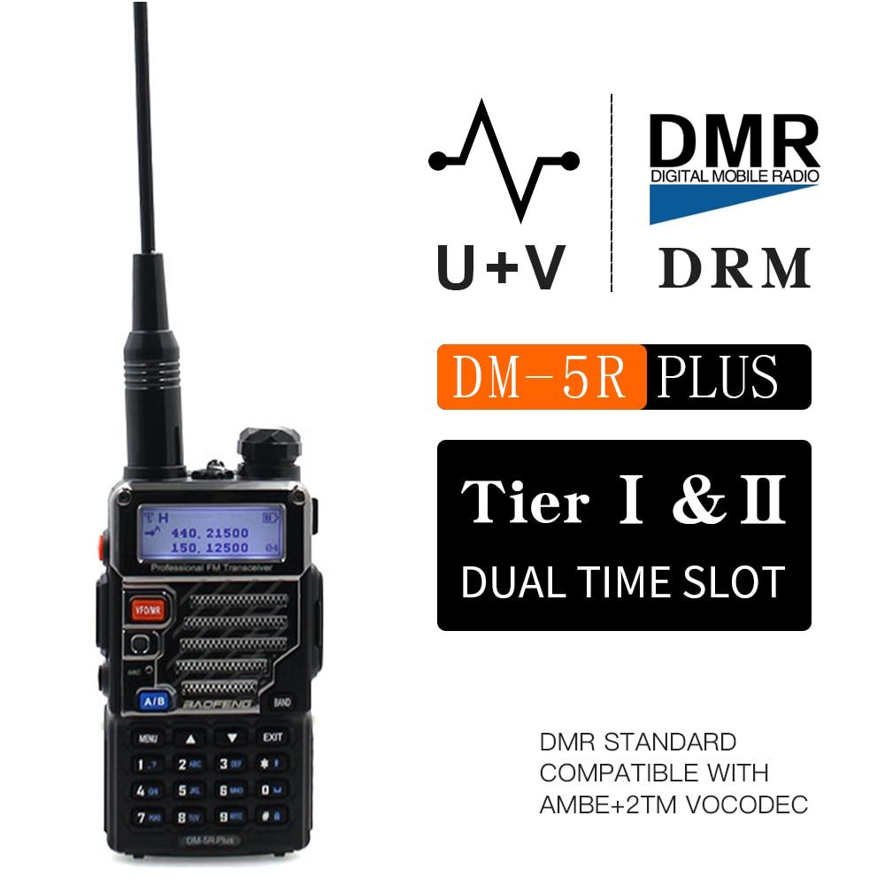 Baofeng DM-5R زائد الرقمية والتناظرية المزدوج وضع المحمولة راديو VHF UHF المزدوج الفرقة DMR 5W 128CH اسلكية Taklie DM-5R + FM جهاز الإرسال والاستقبال