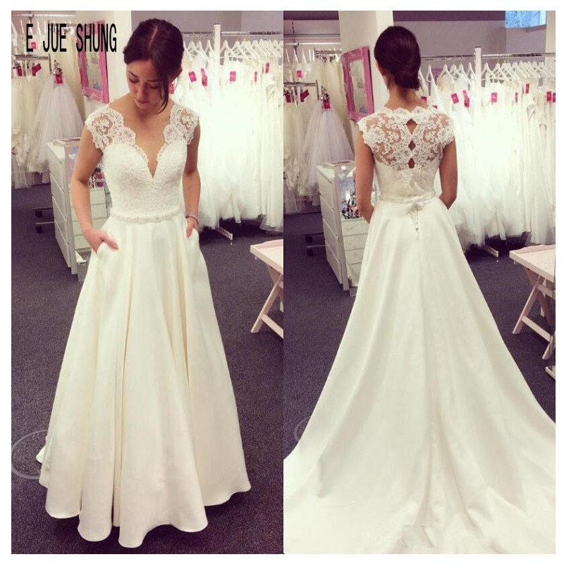 E JUE SHUNG Elegant Satin Wedding Dresses With Pockets V Neck Cap Sleeve Beading Sash Keyhole Back Bridal Gowns vestido de novia