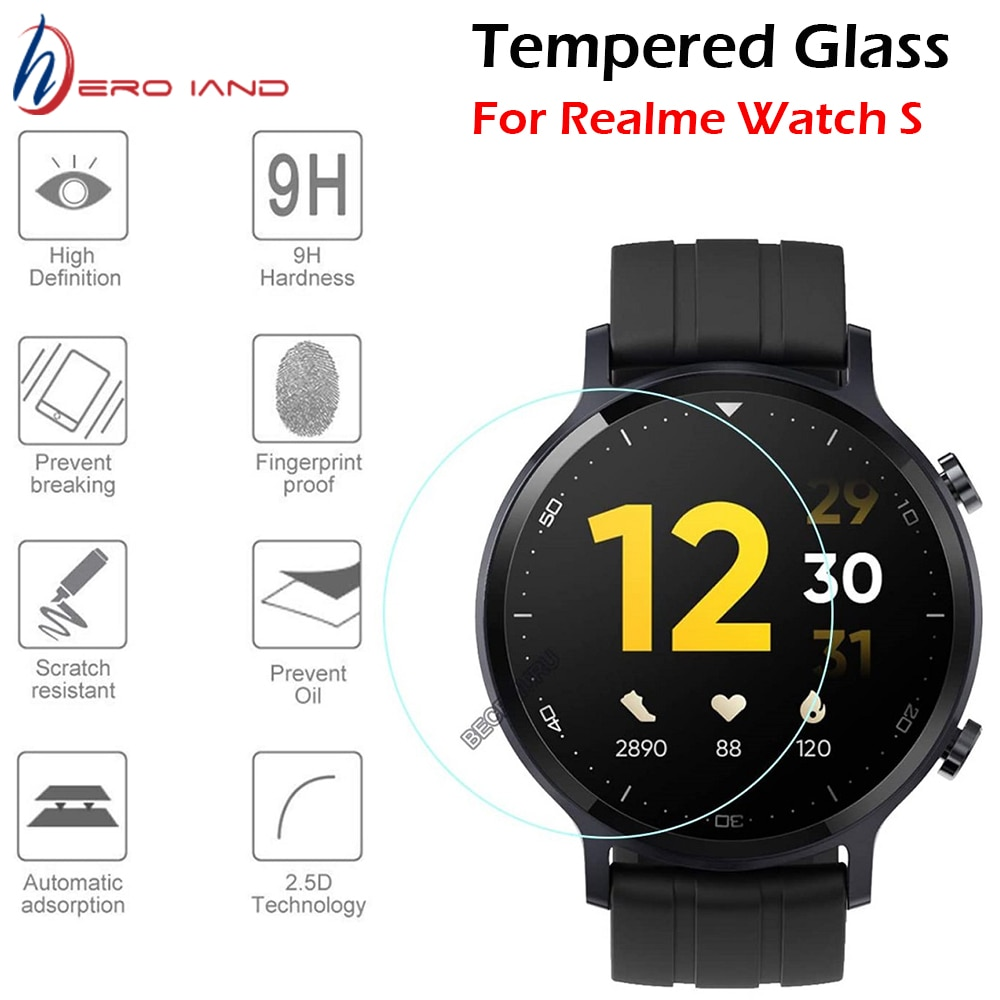2PCS 2.5D Premium Tempered Glass For Realme Watch S Smart Watch Screen Protector Film HD Clear 9H Anti-Scratch Guard Glass
