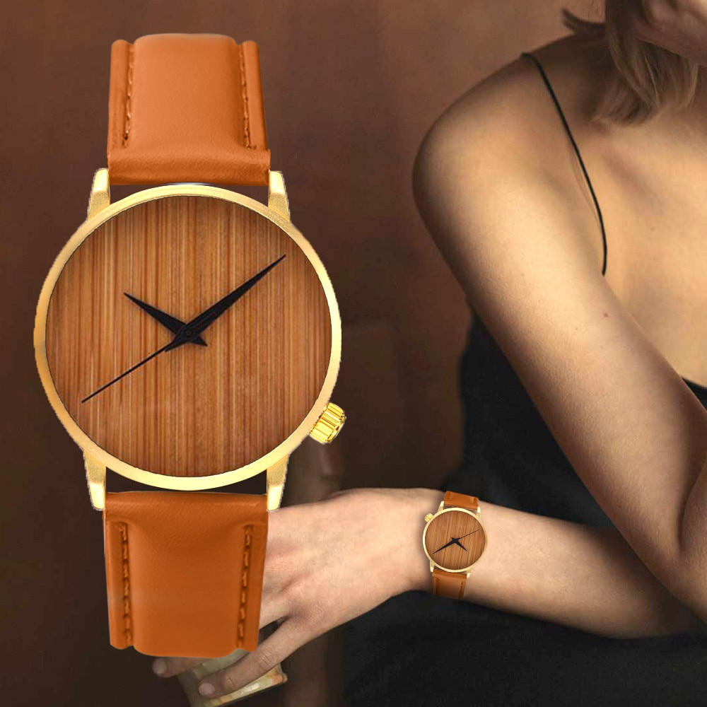 Fashion Men Wooden Analog Watches Of Minimalist Design Mens Casual Leather Quartz Wrist Watch For Ma