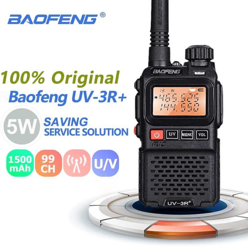 Baofeng UV-3R + plus mini walkie talkie portátil 3 w uhf & vhf rádio em dois sentidos comunicador uv 3r hf transceptor rádio presunto estação uv3r