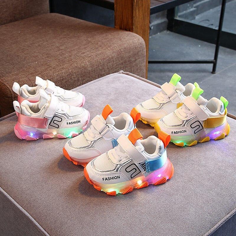 2020 nuevos niños luminosa zapatillas de deporte brillante niños zapatos con luces Led, zapatillas chicas iluminado zapatos Krasovki niños zapatos