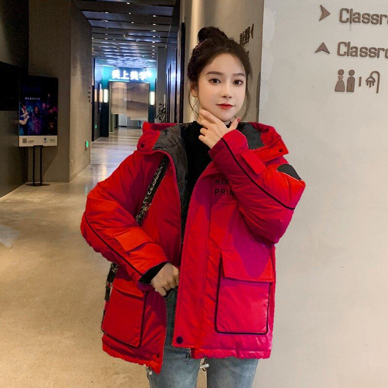 Chaqueta de Invierno Mujer Parka abrigo corto Mujer coreana Parkas con capucha...