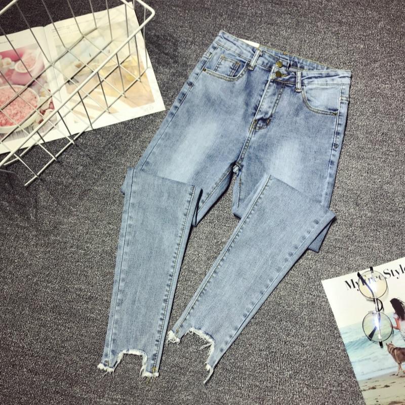 Женские джинсовые брюки, весна-лето 2020, узкие джинсы стрейч с высокой талией, женские рваные узкие брюки-карандаш, джинсы размера плюс 5XL