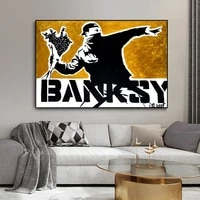 banksys flower thrower canvas painting posters and prints street art portrait paintings wall pictures home cuadros