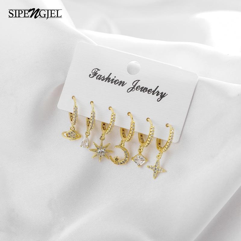 fashion Cubic Zircon Star Moon Sets Earrings small Geometric square crystal Hoop Earrings Set For Women Jewelry 2021 trend