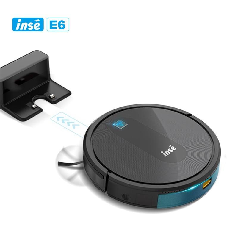 INSE جهاز آلي لتنظيف الأتربة E6 مكنسة كهربائية بدون سلك أسود جهاز تحكم عن بعد شفط قوي 2000Pa 120min Max وقت تشغيل للمنزل