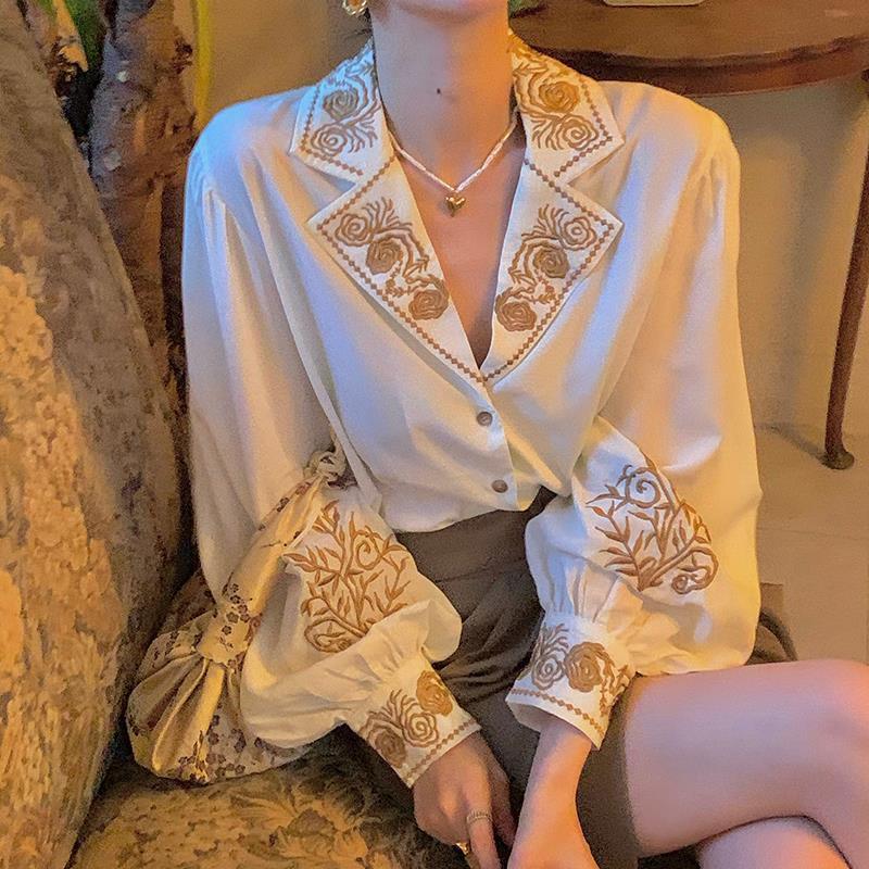 QWEEK Elegant Blouse Women Autumn Korean Fashion Floral Long Sleeve Tops Office Ladies Casual Design