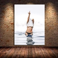 modern fashion black white poster sexy middle finger feminist canvas painting wall art nude woman pictures living room unframed