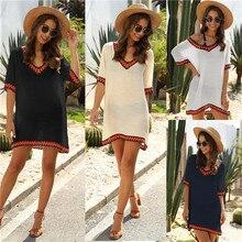 Robe de plage couvrir les femmes blanc col en v vêtements de plage 2020 été Bikini couverture pour dames noir tunique Ups vestido playa Mujer