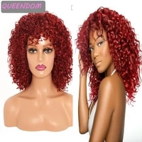 short afro curly wig 12 inches burgundy afro kinky curly natural synthetic wigs for black women heat resistant curly cosplay wig