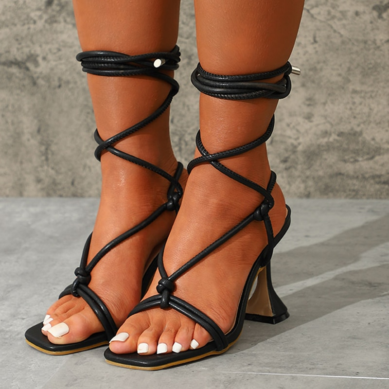 الصيف النساء الصنادل 2021 الكاحل حزام السيدات رقيقة عالية الكعب فستان الحفلات الأحذية الإناث موضة مثير صندل امرأة ساحة تو حذاء