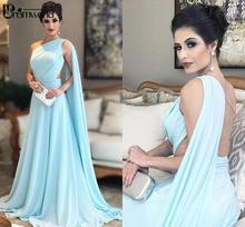 Une épaule lumière bleu ciel robes de soirée plissée en mousseline de soie longueur de plancher saoudien arabe robes de bal femmes élégantes robes formelles